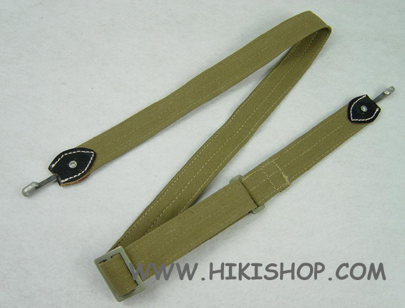 WW2 German Bread Bag Strap Dark Tan Fabric + Black Leather